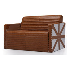 Aviation Union Jack Bonded Leather Sofa, Light Brown, 2-Seater