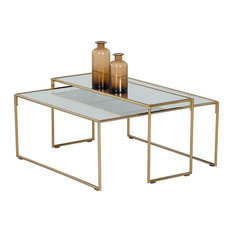 Quirino Coffee Table - Brass - Mirrored - Set Of Two