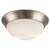 3-Light Flush Mount, Brushed Nickel, White Frosted Glass