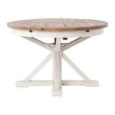 Coastal Beach Reclaimed Wood White Expandable Round Dining Table 63""