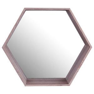 """Hexa  Wooden Shelf Mirror, 20""""x17"""""""