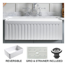 Sutton Place Reversible Farmhouse Single Bowl Kitchen Sink, Grid, Strainer, 24""