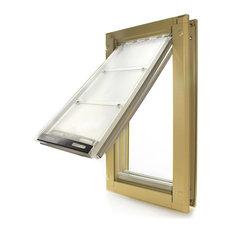"""Endura Flap Pet Door, Door Mount, Medium Double Flap, Tan Frame, 8""""x14"""""""