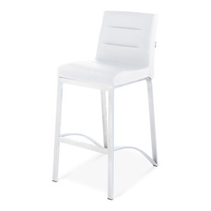 Lynx Counter Height Contemporary Stool With Metal Base, White