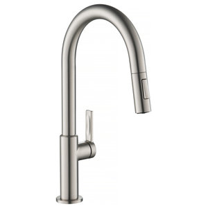 Delta Pivotal 1 Handle Pull Down Kitchen Faucet Arctic Stainless 9193 Ar Dst Contemporary Kitchen Faucets By The Stock Market Houzz