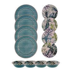 AMERICAN COLLECTIBLES - Sea Life Melamine Dinnerware, 12 Piece Set - Dinnerware Sets