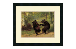 """Framed Art Print 'Dancing Bears' by William Beard, Outer Size 21""""x18"""""""