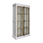 Tucker Curio Cabinet, Solid Mango Wood, Tempered Glass Panes With French Locks