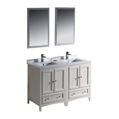 "Oxford 48"" White Double Sink Vanity Versa Brushed Nickel Faucet"