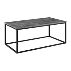 """42"""" Mixed Material Coffee Table, Dark Concrete"""