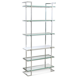 Velma Etagere, Chrome/White Marble Finish