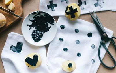 DIY: Как рисовать на ткани штампами из картофеля