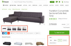 District Convertible Sectional Sofa Bed Contemporary