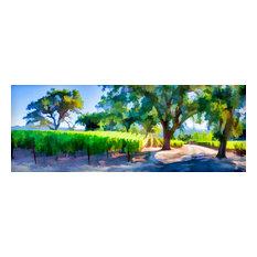 "Vineyard Lane, Pano, Art, Giclee On Canvas, 18"" X 6"""