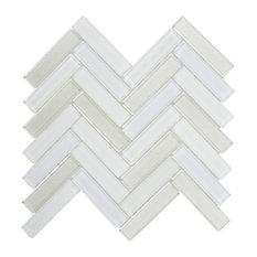 "White Crystal Mosaic Tile Matt Herringbone Backsplash, 11.5""x11.75"""
