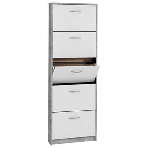 Contemporary Shoe Storage Cabinet, Finished Wood With 5-Compartment