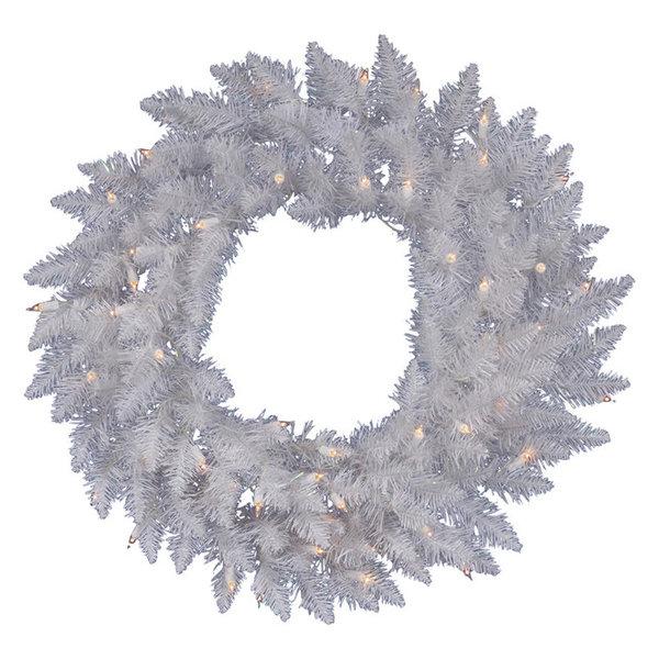 Vickerman Sparkle White Wreath, 100 LED White, 36