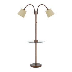 Gailmetal Double Gooseneck Floor Lamp With Tray Table and USB Charging Ports