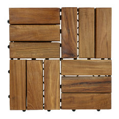 "11.5""x11.5"" Seateak Interlocking Teak Floor Tiles, Set Of 10"