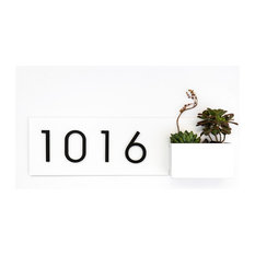 "Vista View House Number Plaque, 24""W x 7""H, White, With Numbers"