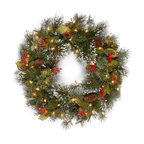 """24"""" Wintry Pine Wreath With Clear Lights"""