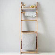 - Bamboo Leaning Bath Shelf - Bathroom Cabinets