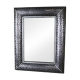 Large Silver Embossed Wall Mirror, 102cm x 80cm