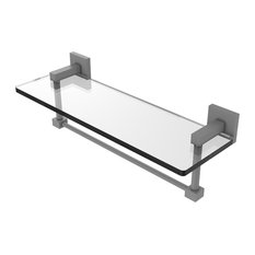 "Montero Collection 16"" Glass Vanity Shelf With Integrated Towel Bar, Matte Gray"