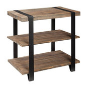 Alaterre Modesto Metal Strap and Reclaimed Wood End Table With Shelf