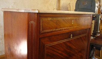Bsp. 2 Restaurierungsobj.: Sekretär um 1800 Frankreich,Mahag. m. Messingeinlagen