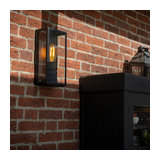 Modern Rectangle Outdoor Wall Lamp Black with Glass Panels - Rotterdam 1