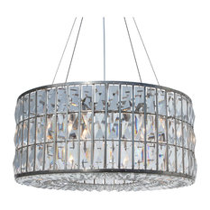 The Monroe Round Clear Crystal Chandelier, Brushed Nickel Finish