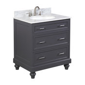 "Amelia Bath Vanity With Carrara Marble Top, Base: Charcoal Gray, 30"""