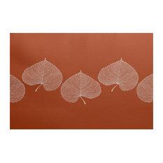 """Leaf Print 2, Floral Print Indoor/Outdoor Rug, Orange, 3"""" x 5-ft"""