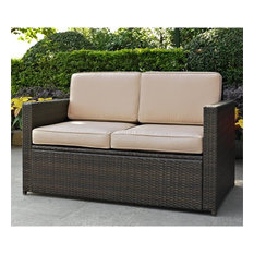 Crosley Palm Harbor Patio Wicker Loveseat, Brown With Sand Cushions