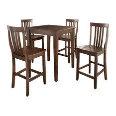 5Pc Pub Dining Set W/School House Stools- Pub Table, 4 Bar Stools