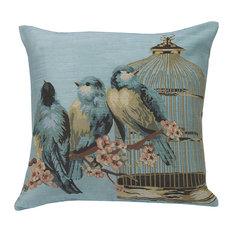 "Bluebirds Cushion Blue, 20""x20"""
