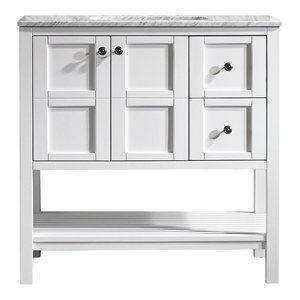 "Florence 36"" Single Vanity, Carrara White Marble Top, White, Without Mirror"