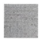 "12""x12"" Carrara White Square Mosaic Tile Polished, Chip Size: 3/8""x3/8"""