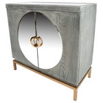 Statements by J - Toretto Accent Cabinet With Gold Legs - Handcrafted wood cabinet with stainless steel legs and handles has a mirrored top and mirrored circle design in the front
