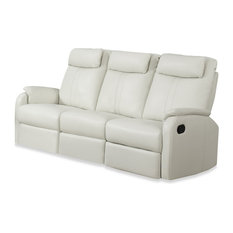 Monarch Specialties   Reclining, Sofa Ivory Bonded Leather   Sofas