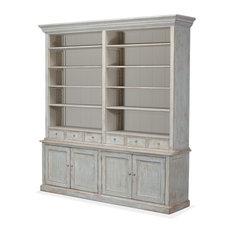 Book Cabinet, Angelique, Pine with Blue Wash