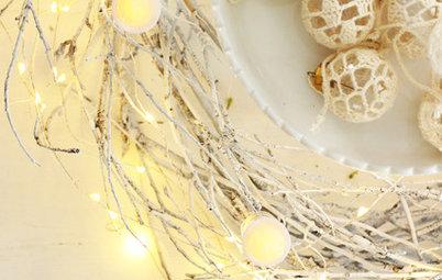 簡単DIY:小枝のフライングリース、色と灯りを変えた応用編