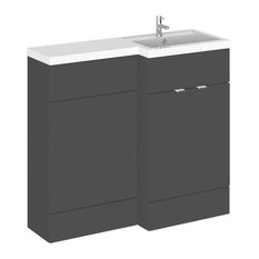 Combinations Bathroom Vanity Unit, Gloss Grey, Right-Hand, 100 cm