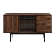 52-inch Modern 2 Drawer Lifted Sideboard Dark Walnut