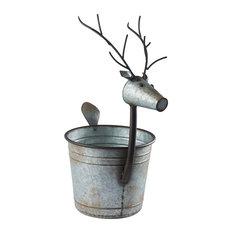 Deer Shaped Planter - Galvanized Metal Bucket Potpourri Basket