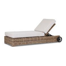 Havana Adjustable Chaise With Cushions, Canvas Flax