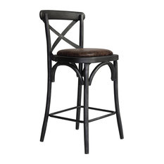 Havey Industrial Metal Barstool Silver Brushed Gray Brown Fabric Seat