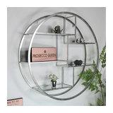 Large Round Silver Mirrored Multi Shelf Unit