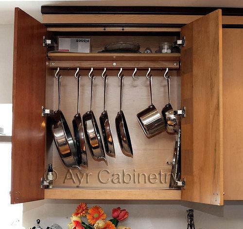 Pot Rack Inside An Upper Cabinet